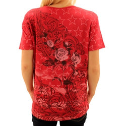 America True - Red Flowers - The Flag Shirt