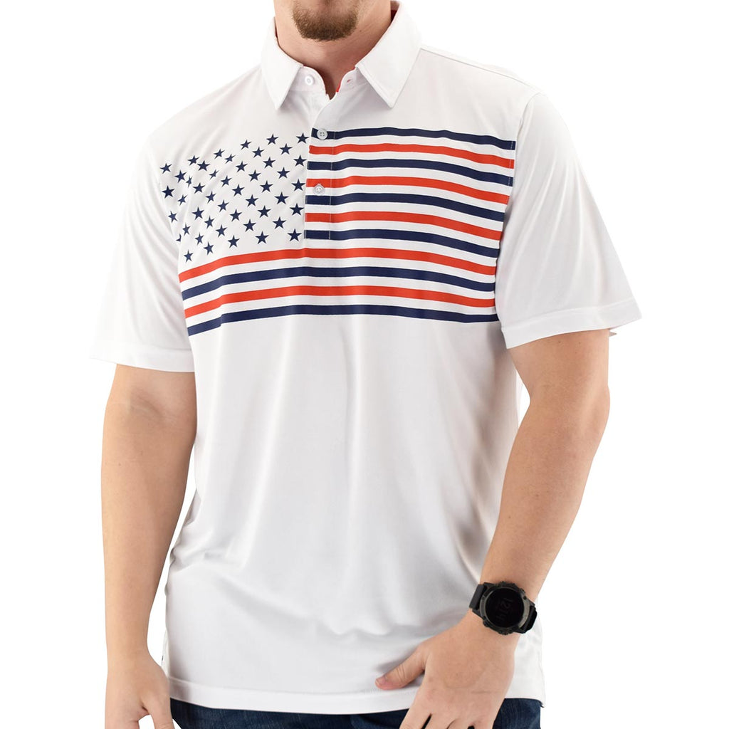 Mens Flag Flying Polo Tech Shirt -White - theflagshirt