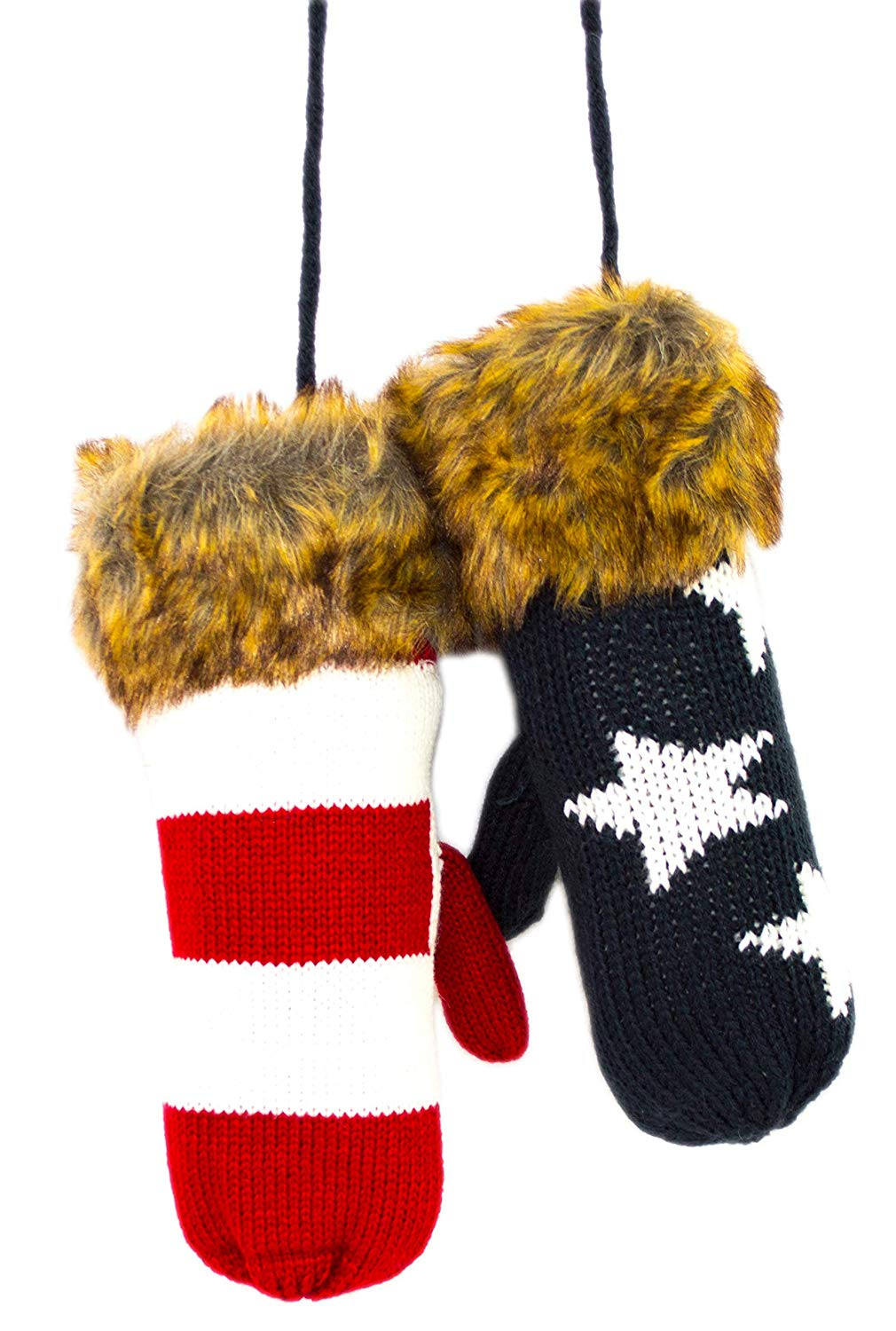 american flag warm knit mittens with string - the flag shirt