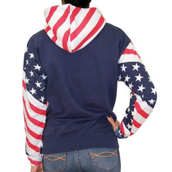 Ladies Hoodie American Flag Print USA Pullover Hooded Sweatshirt - The Flag Shirt