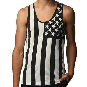Black and White American Flag Mens Tank Top