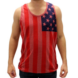 Hawks Bay American Flag Mens Tank Top -Light Red - The Flag Shirt