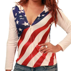 American Flag Zip Hooded top for juniors - The Flag Shirt