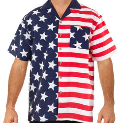 Mens USA Flag Button Down Hawaiian Shirt - theflagshirt
