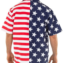 Mens USA Flag Button Down Hawaiian Shirt