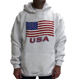 American Flag Mens Hooded Sweatshirt - White - The Flag Shirt