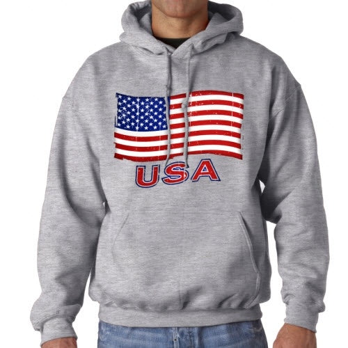 Waving American Flag Mens Hooded Sweatshirt - Grey - theflagshirt