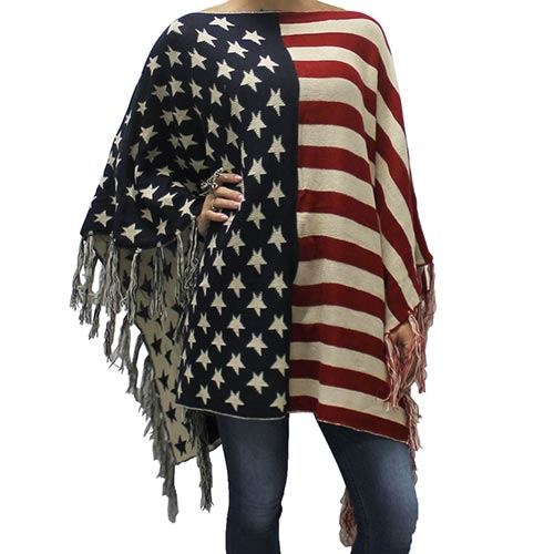 Womens American Flag Sweater Poncho - The Flag Shirt