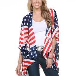 Kimono Cape-American Flag with dark piping - The Flag Shirt