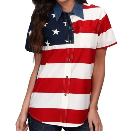 Woven Short Sleeve American Flag Womens Button Down Shirt