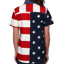 Woven Short Sleeve American Flag Womens Button Down Shirt - The Flag Shirt