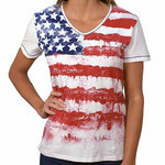 Load image into Gallery viewer, Ladies Short Sleeve Printed Knit - theflagshirt