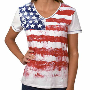Ladies Short Sleeve Printed Knit - theflagshirt