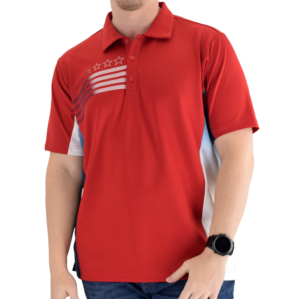 mens liberty classic polo shirt red - the flag shirt