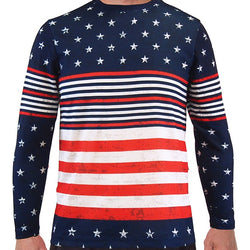 Long Sleeve Crew Neck American Flag Tee - theflagshirt