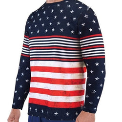 Long Sleeve Crew Neck American Flag Tee