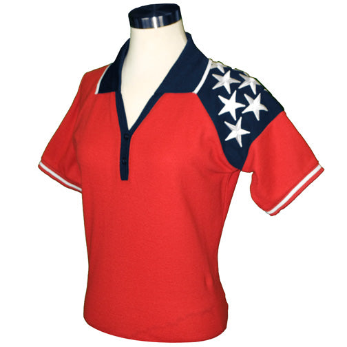 Lady Freedom Pique Womens Polo Shirt - Red RP521R - The Flag Shirt