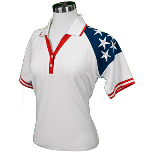 Lady Freedom Pique Womens Polo Shirt -White RP396W - The Flag Shirt