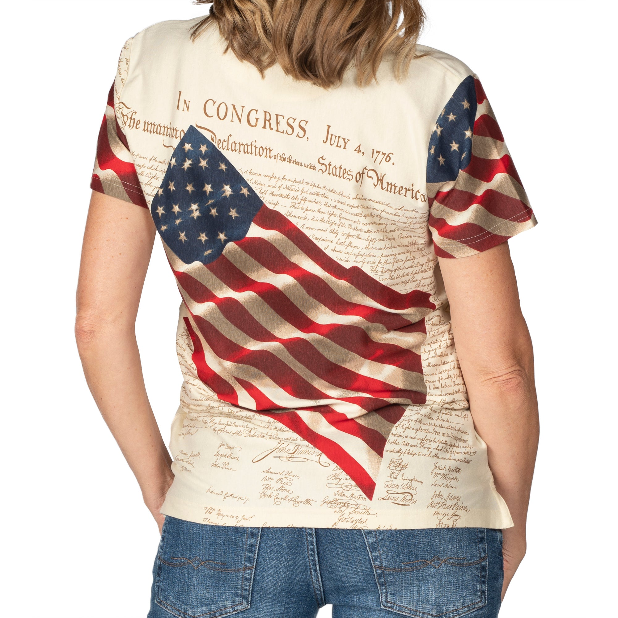 Women's Waving American Flag Polo Shirt