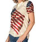 Load image into Gallery viewer, Women's Waving American Flag Polo Shirt
