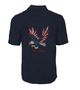 Men's Fly Like an Eagle Embroidery Button Up Shirt UPF-50