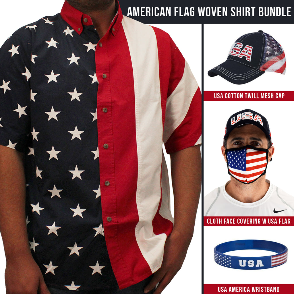 Mens American Flag Woven Shirt - the flag shirt