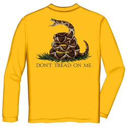Dont Tread On Me Mens Long Sleeve T-Shirt - Yellow - The Flag Shirt