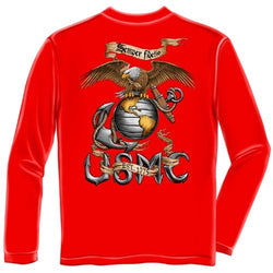 Red Semper Fidelis Mens Long Sleeve T-Shirt - The Flag Shirt