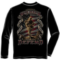 Patriotic American Soldier Mens Long Sleeve T-Shirt - The Flag Shirt
