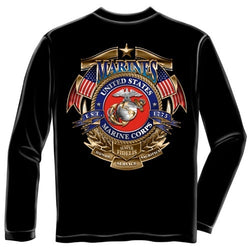 USMC Badge of Honor Mens Long Sleeve T-Shirt - The Flag Shirt