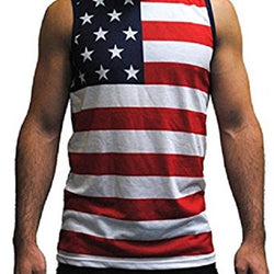 Patriotic American Horizontal Stripes and Half Stars Tank Top - The Flag Shirt