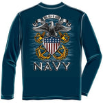 Load image into Gallery viewer, Navy Full Print Eagle Mens Long Sleeve T-Shirt - The Flag Shirt