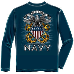 Navy Full Print Eagle Mens Long Sleeve T-Shirt - The Flag Shirt e57eef546