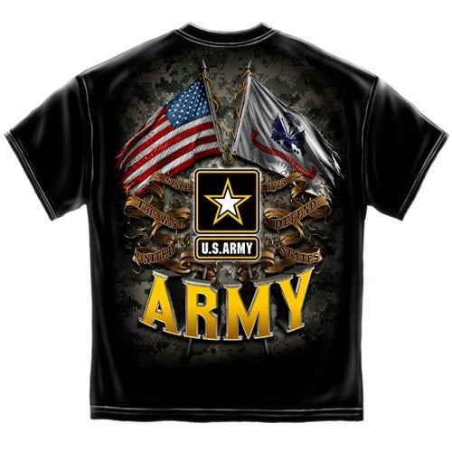 Army Double Flag Eagle Mens T-Shirt - The Flag Shirt