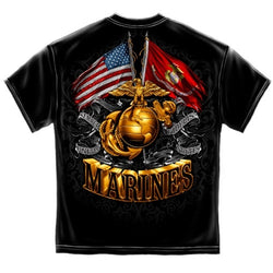 USMC Gold Globe Double Flag Eagle Mens T-Shirt - The Flag Shirt