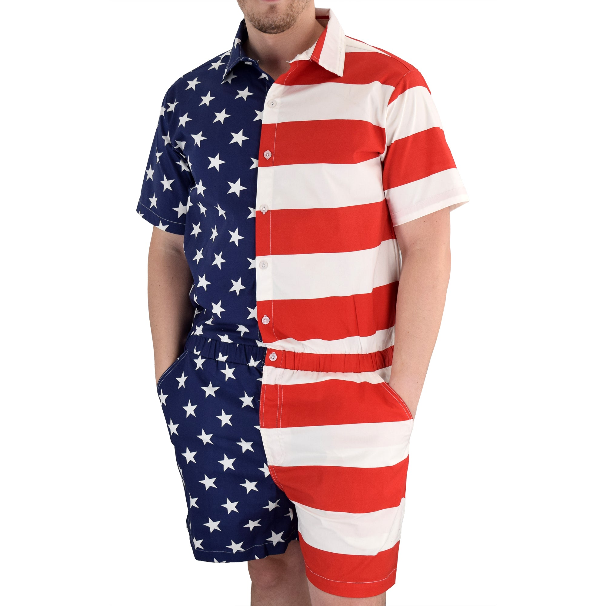 Mens american flag romper - the flag shirt