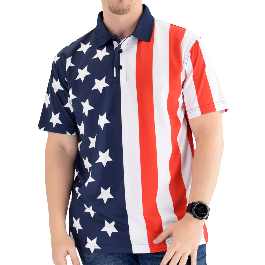 Made in The USA Patriotic Golf Shirt - the flag shirt