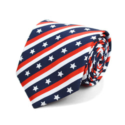Mens USA Flag Pattern Novelty Neck Tie