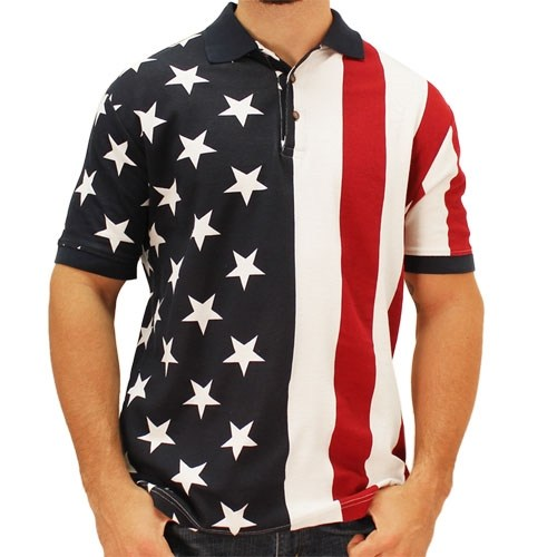Patriotic Mens Polo Jersey Shirt - The Flag Shirt