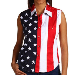 Woven American Flag Sleeveless Flag Stars Womens Button Down Shirt - The Flag Shirt