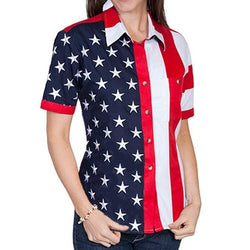 Short Sleeve Woven Full Flag and Stripes Womens Button Down Shirt - The Flag Shirt