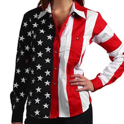 American Flag Shirt Ladies Long Sleeve Woven
