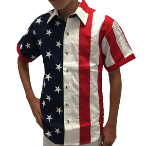 AS Boys Woven Short Sleeve American Flag Shirt - The Flag Shirt