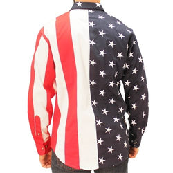 Mens Woven Long Sleeve American Button Down - The Flag Shirt