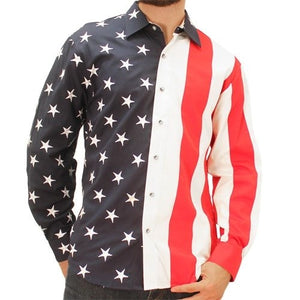 Mens Woven Long Sleeve American Button Down Big and Tall - The Flag Shirt