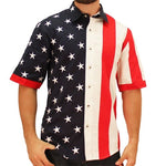 Load image into Gallery viewer, Mens Woven Short Sleeve American Button Down - The Flag Shirt
