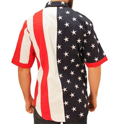Mens Woven Short Sleeve American Button Down - The Flag Shirt