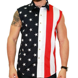 Mens Woven Sleeveless American Button Down - The Flag Shirt