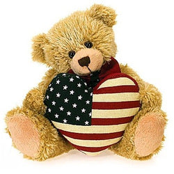 Cute Teddy Bear with an American Flag heart - The Flag Shirt