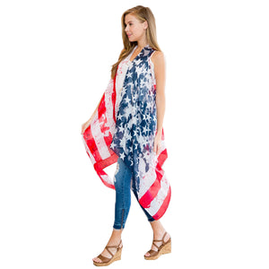 American Flag Sleeveless Cardigan